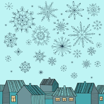 Winter illustration with houses and falling snowflakes