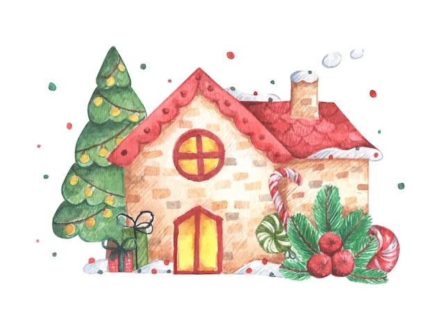 흰색 바탕에 집 겨울 그림입니다. 초대장, 인사말, 휴일 및 장식을위한 수채화 크리스마스 카드.