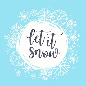 Winter illustration with snowflakes.