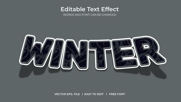 Winter illustrator editable text effect template design