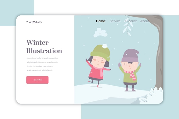 Winter ilustration landing page   template cute caracter