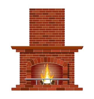 Зимний интерьерный костер. классический камин из красного кирпича, внутри ярко горящее пламя и тлеющие поленья. домашний камин для уюта и отдыха.