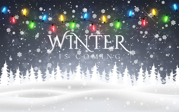 Winter is coming. christmas, snowy night woodland landscape with falling snow, firs, light garland, snowflakes for winter and new year holidays. xmas winter background.