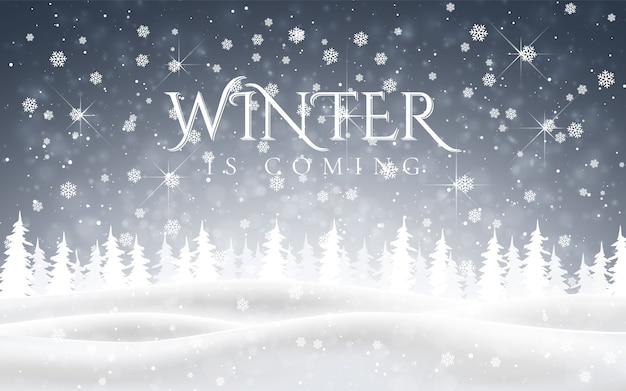 Winter is coming. christmas, snowy night woodland landscape with falling snow, firs, snowflakes for winter and new year holidays. xmas winter background.