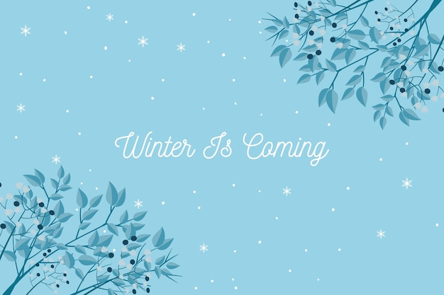 Winter is coming text on blue background
