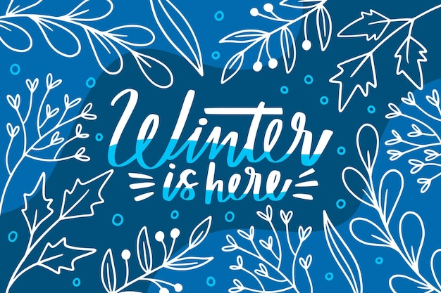 L'inverno è qui il testo su sfondo blu