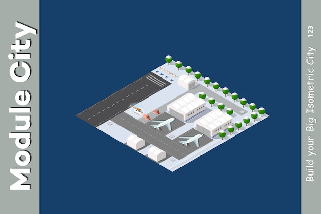 Winter isometric airport