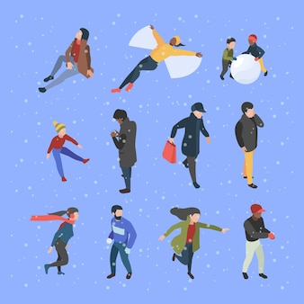 Winter isometric people. male and female characters in clothes in winter season garish vector illustrations. female and male activity winter season