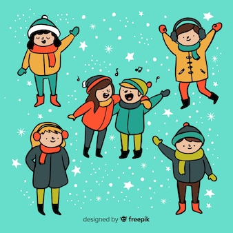 Winter kids different actions