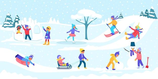 Иллюстрация зимних детских игр