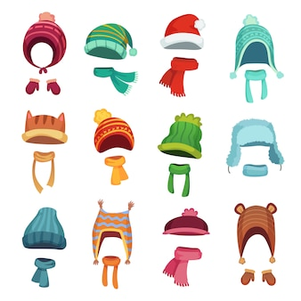 Winter kids hats. warm childrens headwear and scarves. cartoon set