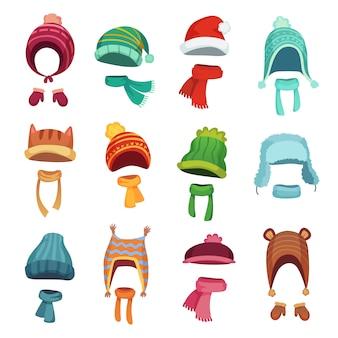 Winter kids hats. warm childrens headwear and scarves. cartoon set