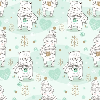 Winter kids seamless pattern. hand drawn bear and boy