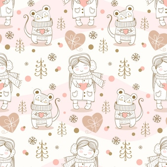 Winter kids seamless pattern. hand drawn mouse and girl