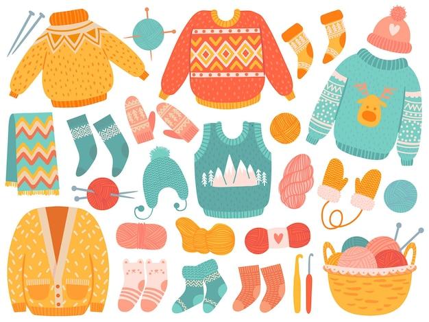 Зимняя вязанная одежда. шерстяная одежда ручной работы и инструменты для вязания, свитера, носки, шапки и рукавицы, шарф, иглы и векторный набор пряжи. модные аксессуары из шерсти, фурнитура для вязания крючком.
