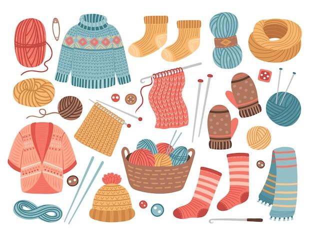 겨울 니트 옷. 뜨개질 취미, 모직 카디건 스웨터. 귀여운 니트 스카프, 고립 된 따뜻한 크로 셰 뜨개질 모자 재킷 벡터 일러스트 레이 션. 겨울 모자와 옷, 따뜻한 스카프, 계절 의류