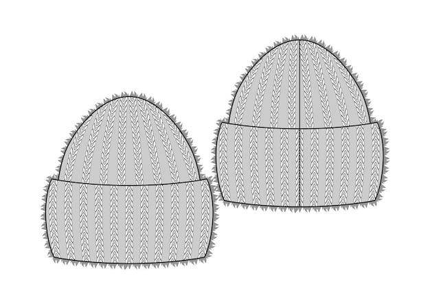 Зимняя вязаная пушистая шапка, эскиз стиля векторные иллюстрации, изолированные на белом фоне. векторный шаблон. шерсть