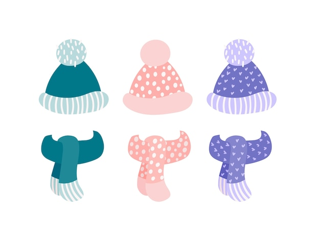 ポンポンとスカーフの異なる色セットが白い背景で隔離の冬ニット帽子。手描き子供スタイルフラットイラスト