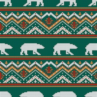 Winter knitted woolen pattern with polar bears