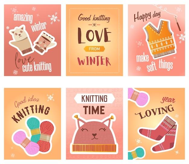 冬の編み物チラシセット。かぎ針編み、糸と糸、ニットクロス、かわいいミトンと靴下は、テキストでイラストをベクトルします。クラフトショップのポスターやパンフレットのデザインのための手作りの趣味のコンセプト