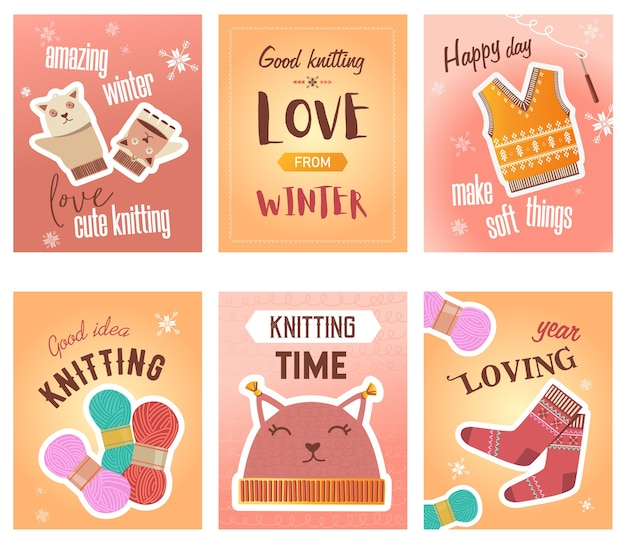 Winter knitting flyers set. crochet, thread and yarns, knitted cloth, cute mittens and socks vector illustrations with text. handmade hobby concept for craft shop posters and brochures design