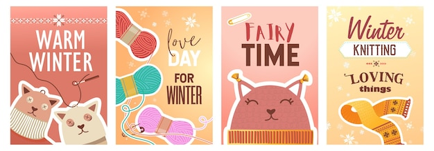 겨울 뜨개질 포스터 세트. 핀 및 원사, 니트 장난감 및 천으로 벡터 일러스트 텍스트. 공예품 가게 전단지 및 브로셔 디자인을위한 수제 취미 개념