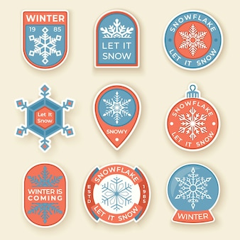 Winter labels and badges