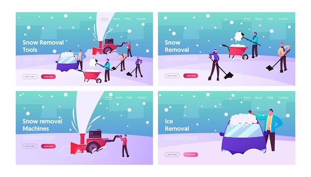 Winter landing page template set. happy characters shoveling, removing snow from street using shovels and snowblower for cleaning road and cars after snowfall. cartoon people vector illustration