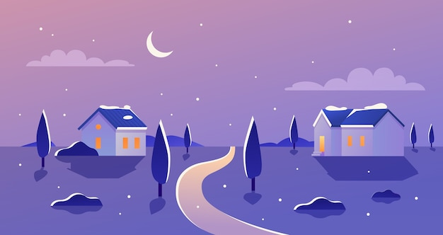 夜のイラストで冬の風景