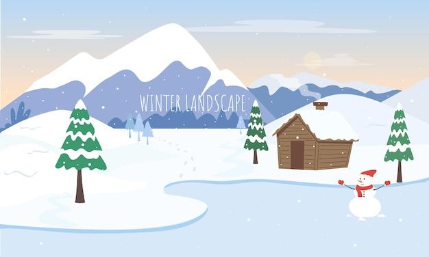 Winter landscape background flat illustration