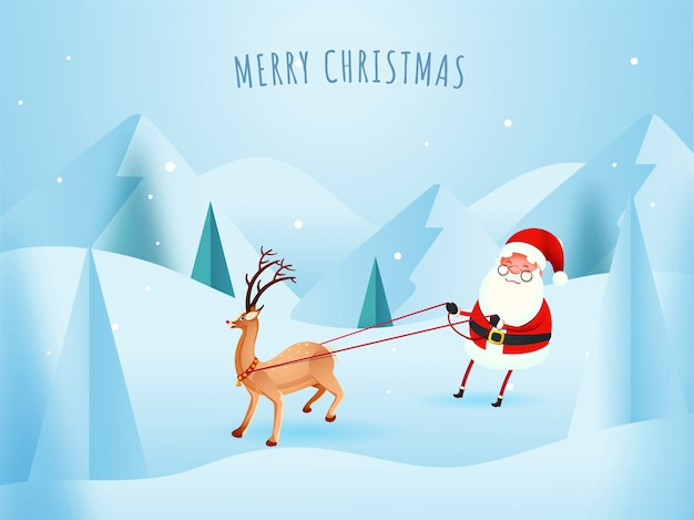 Winter landscape background with cartoon santa claus pulling rope of reindeer for merry chrismas celebration.