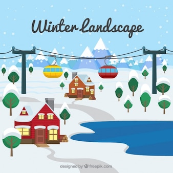 집과 케이블카와 겨울 풍경 배경