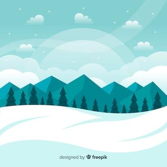 겨울 풍경 배경 무료 벡터