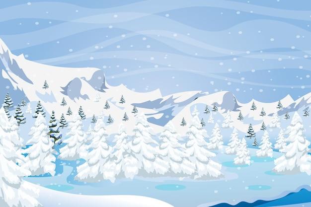 Winter landscape christmas time vector background design