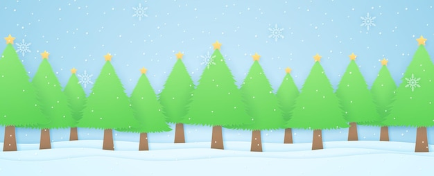 Winter landscape, christmas trees on snow with snow falling and snowflakes, paper art style
