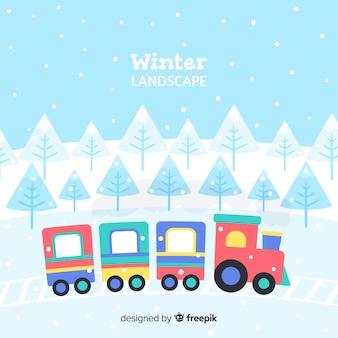 Winter landscape colorful train