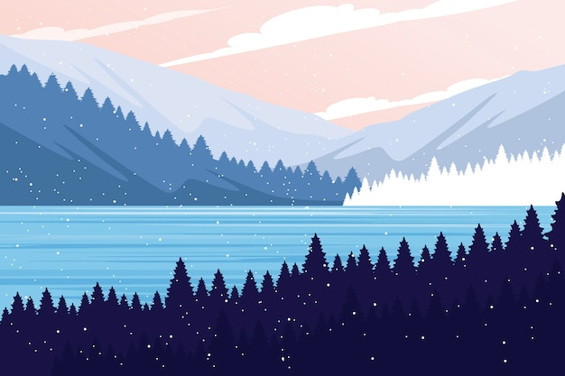 Winter landscape concept in flat design
