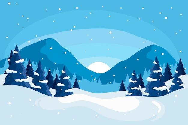 Winter landscape concept in hand drawn