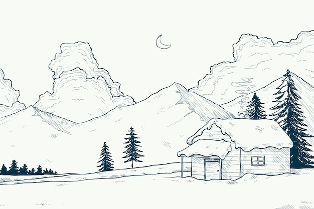 Winter landscape concept in hand drawn