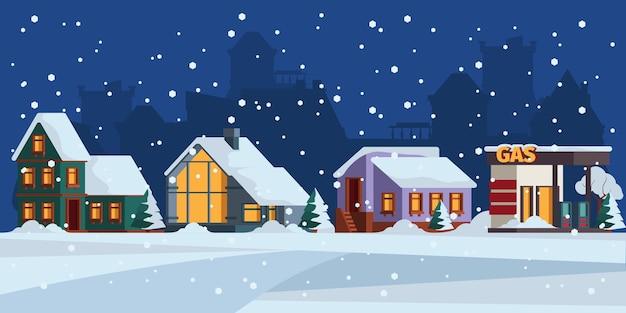 冬の風景。コテージ雪のファサードクリスマス風景ベクトル色の背景。建築外装クリスマス、クリスマス建築シーンイラスト