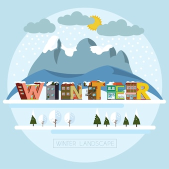 Winter landscape. decorative house alphabet letters forming word winter. vector illustrati