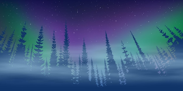 Зимний пейзаж, сумерки и полярное сияние, лес и закатный свет
