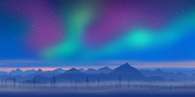 Winter landscape, dusk and polar lights, forest and mountains
