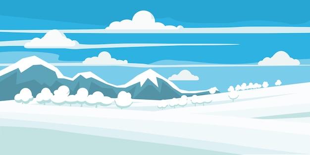 Зимний пейзаж, поле в снегу, горы и деревья