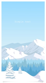 Winter landscape flat color background with text space
