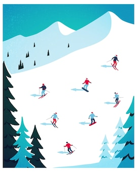 Winter landscape flat vector illustration background for banner greeting card poster and another