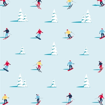 Winter landscape flat vector pattern background for banner greeting card poster and advertising