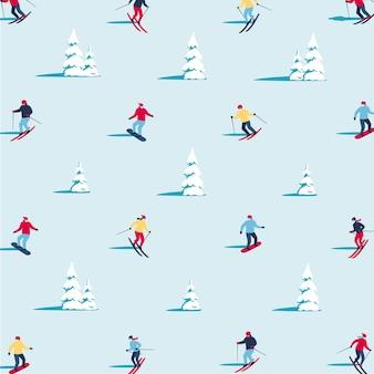 배너 인사말 카드 포스터 및 광고에 대 한 겨울 풍경 평면 벡터 패턴 배경