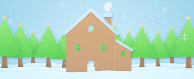 Winter landscape house and christmas trees on snow with snow falling and snowflakespaper art style