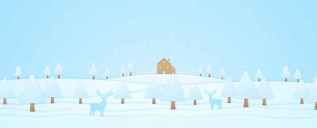 Winter landscape, house and trees on hill with reindeer, snow falling, paper art style